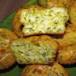 Вкусный пирог (кексы) из плавленных сырков с зеленью